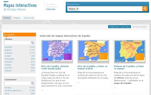 Mapas interactivos de España y Europa