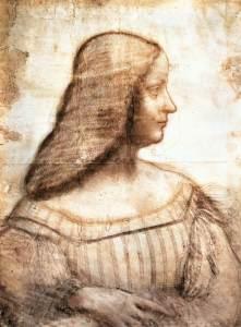 Isabella D'Este, Leonardo da Vinci, en Wikimedia Commons. Licencia CC PD
