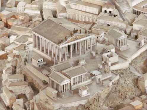 Maquette de Rome on Wikimedia Commons, License CC BY